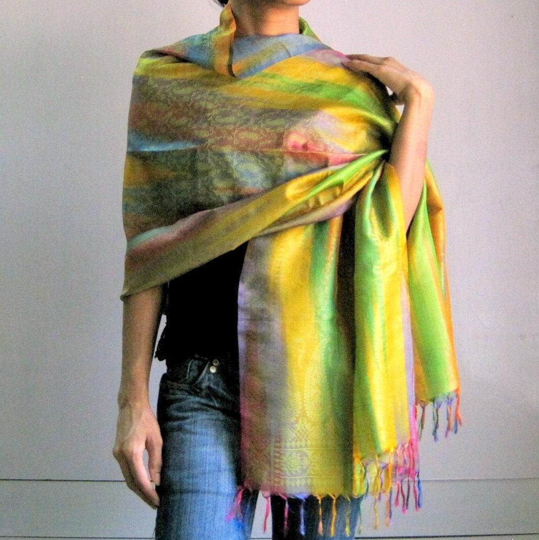 Multicolor vibrant handpainted Woven Silk Sheer Fabric Shawl / Scarf with hand knotted fringes