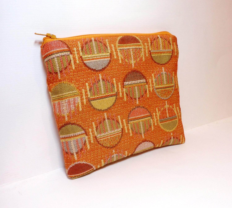 Medium Pouch Zipper Pouch Cosmetic Bag  Gadget Pouch Pumpkin Half Circles and Stripes - handjstarcreations