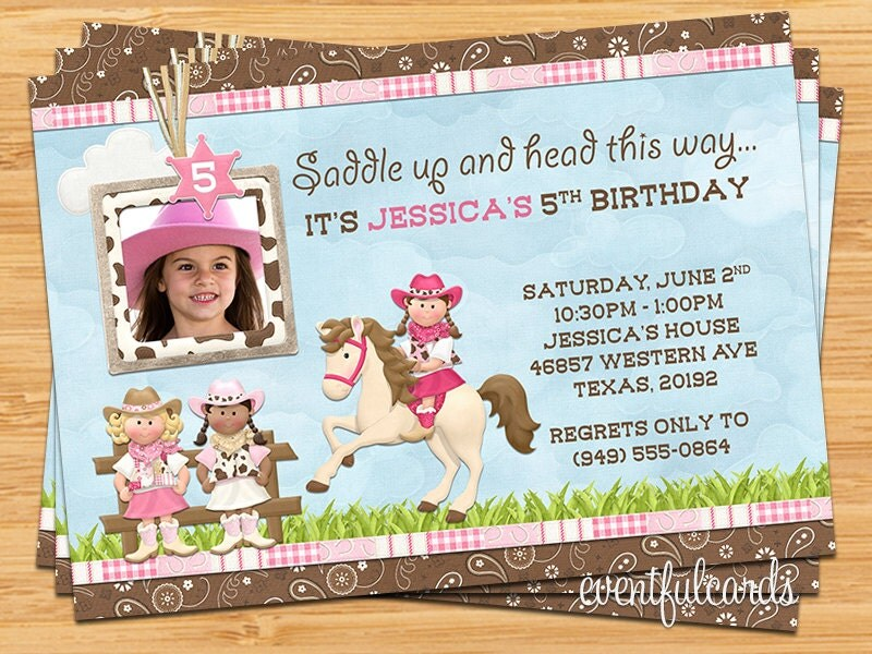 Kids Cowgirls Birthday Party Invitation by eventfulcards ...