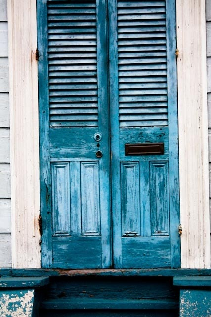 Blue Doors in the French Quarter 12x12 Photograph on Canvas