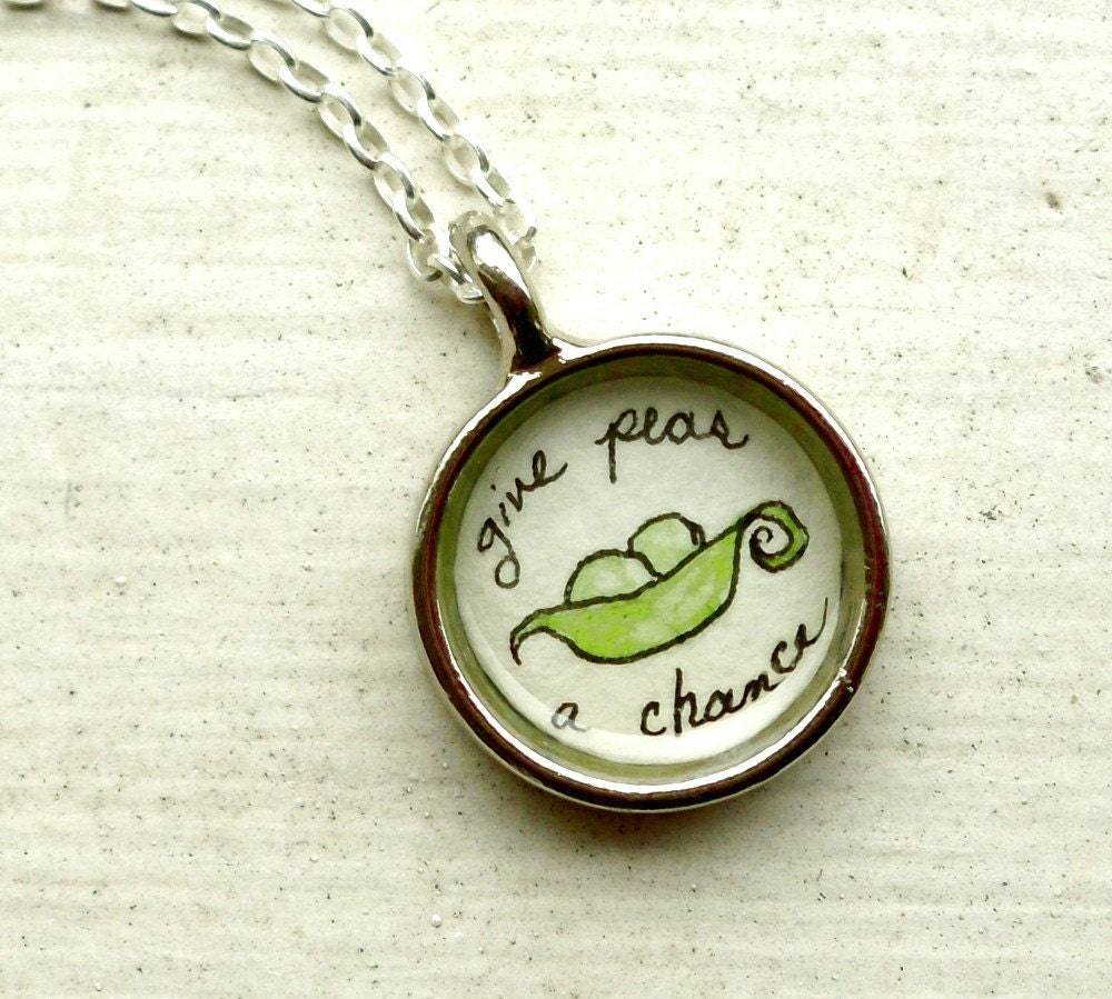 hand painted necklace, original watercolor pendant, Give Peas a Chance