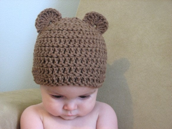 baby bear beanie - 0-6 months