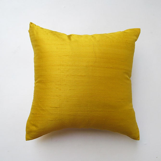 Yellow Silk Decorative Pillows : Yellow silk pillow cover 18 inch throw by Comfyheavenpillows