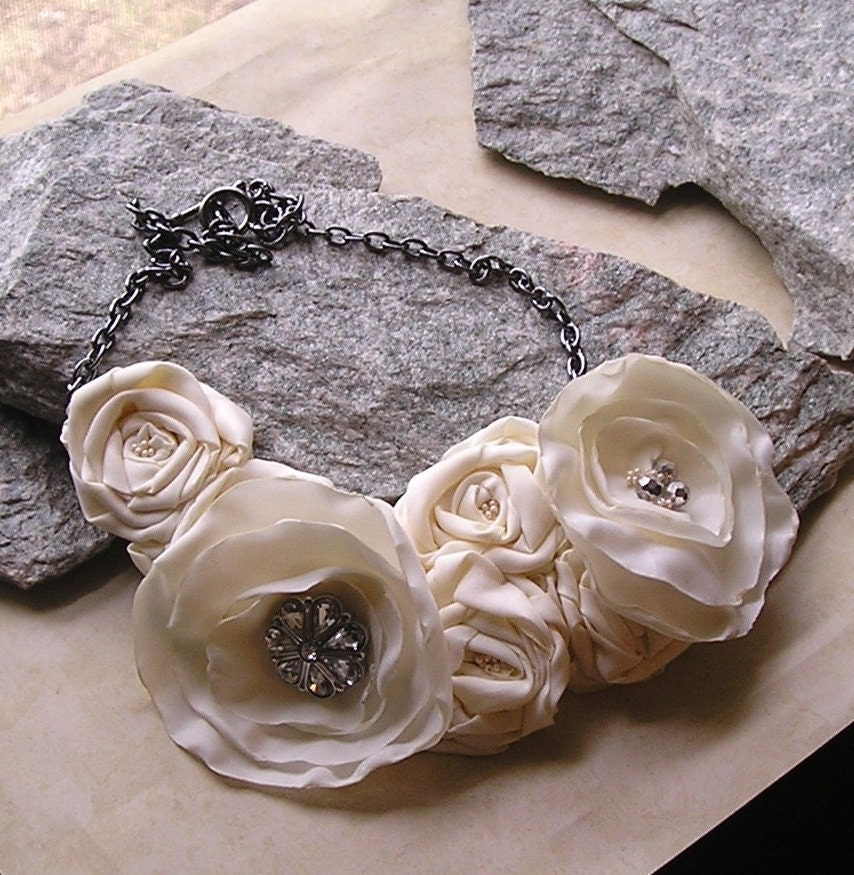 Buttercream Blossom fabric flower statement bib necklace