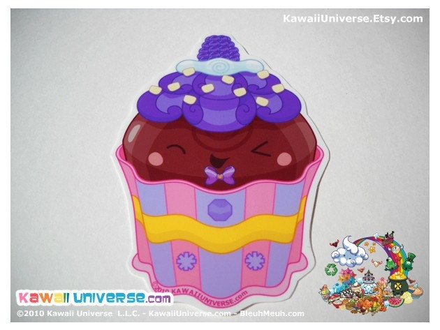 Kawaii Blackberry  Cupcake Medium Vinyl Sticker Cling