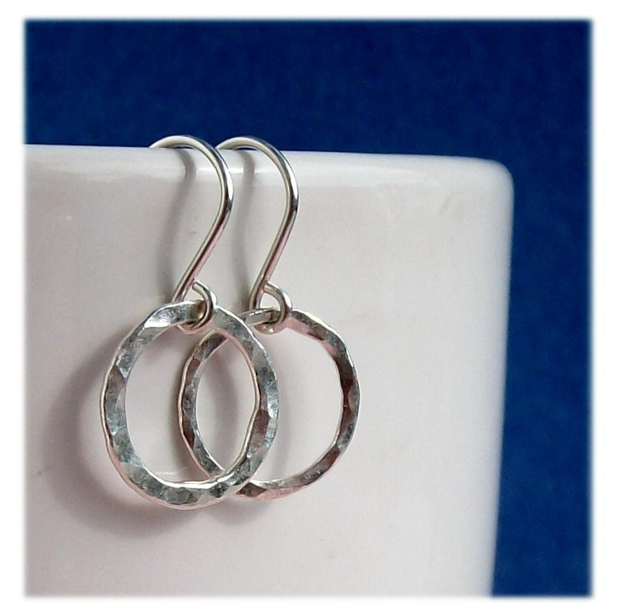 handmade hoops sterling silver hammered earrings pawandclawdesigns