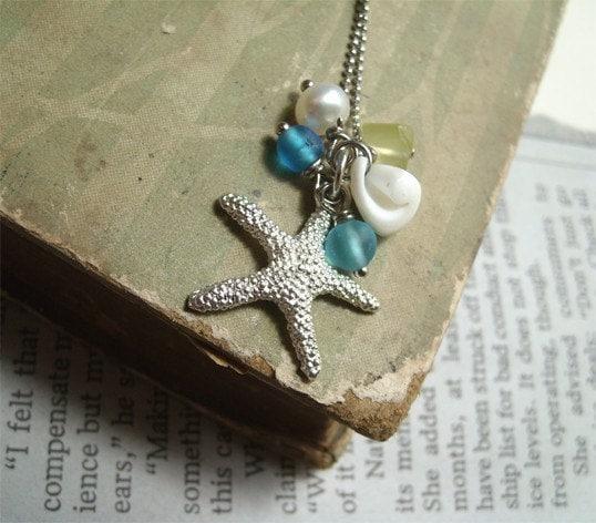 Starfish. Starfish charm, sea glass, pearl, shell necklace