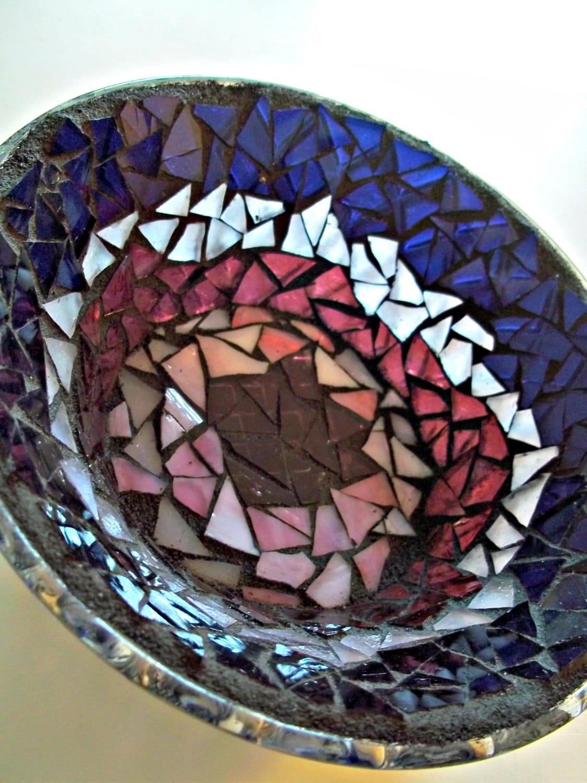 Purple Glass Mosaic Dish - earthmothermosaics