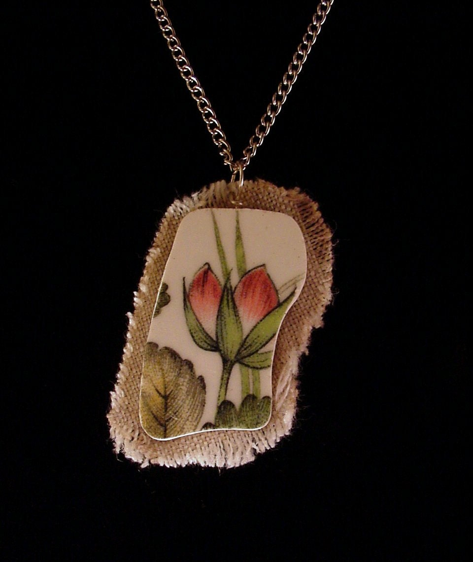 Broken china jewelry shard and linen pendant necklace vintage lotus or water lilly china