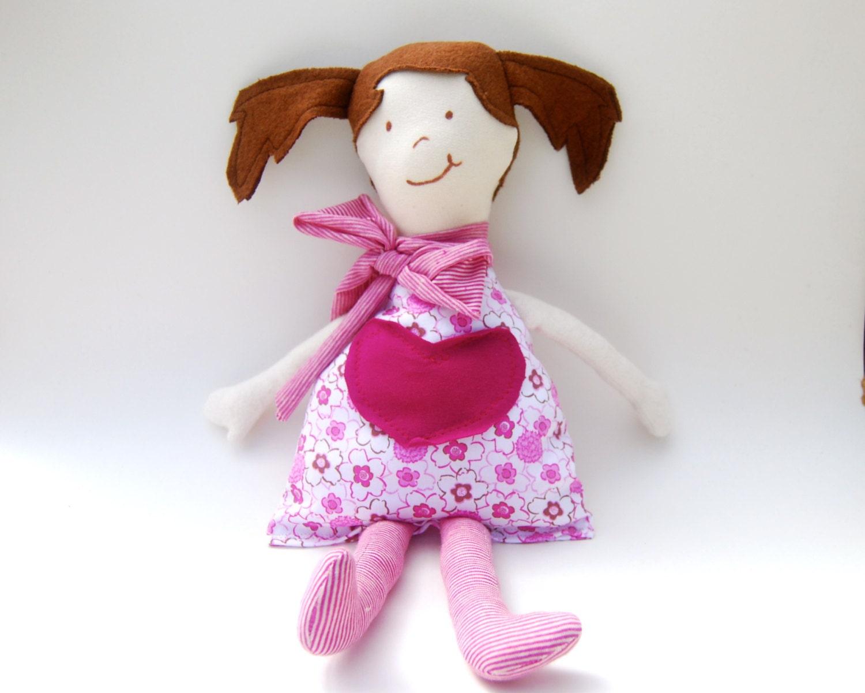 Valentine's Day Organic Cloth Doll - Eco Friendly - Organic Cotton - Little Girl - Rag Doll - Handmade - SoulRole