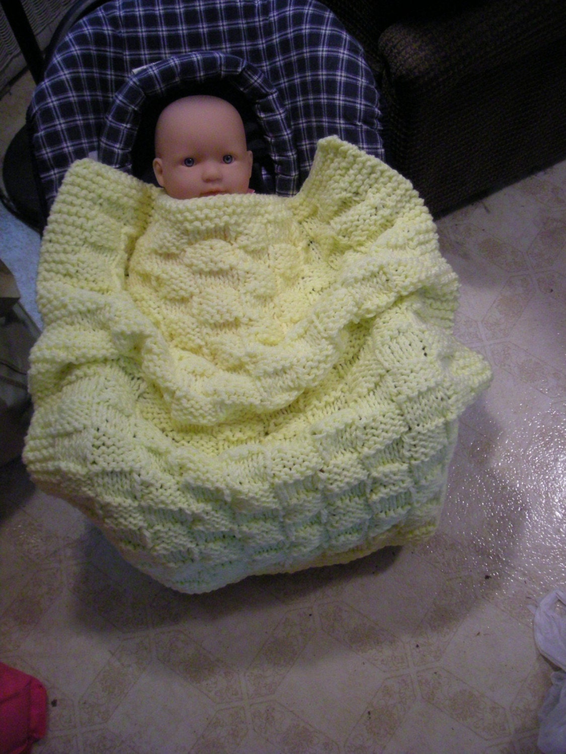 Car Seat Blanket Knitting Pattern : CAR SEAT BLANKET PDF pattern to knit by brightcraft on Etsy