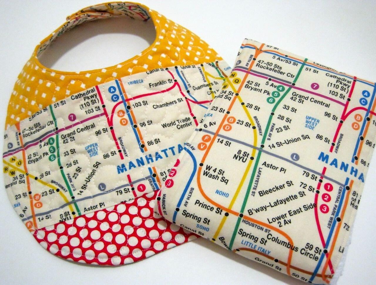 REVERSIBLE nyc subway map baby bib and burp cloth SET