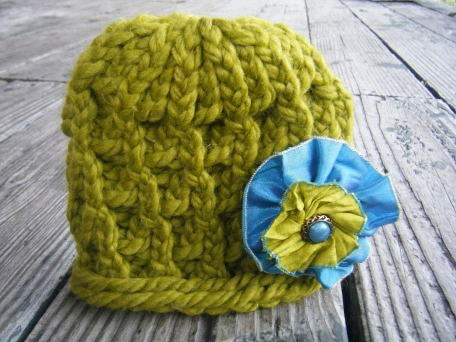 NEW-Ready to Ship- Lemongrass Market Knit Hat with Removable Flower-Perfect Newborn Photography Prop