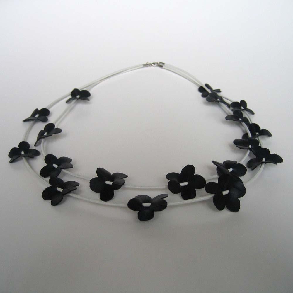 Bike inner tube flower necklace, handcut flowers