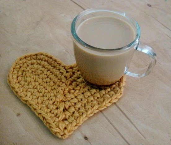 Crochet Patterns Home Decor : PDF PATTERN Crochet Heart Home Decor Coaster by PATTERNSbyFAIMA