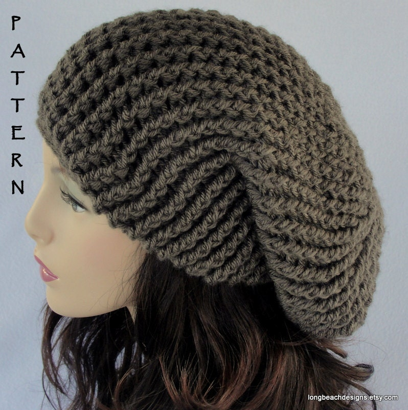 Crochet Patterns Slouchy Beanie : Crochet Hat PATTERN Slouchy Hat Pattern by longbeachdesigns