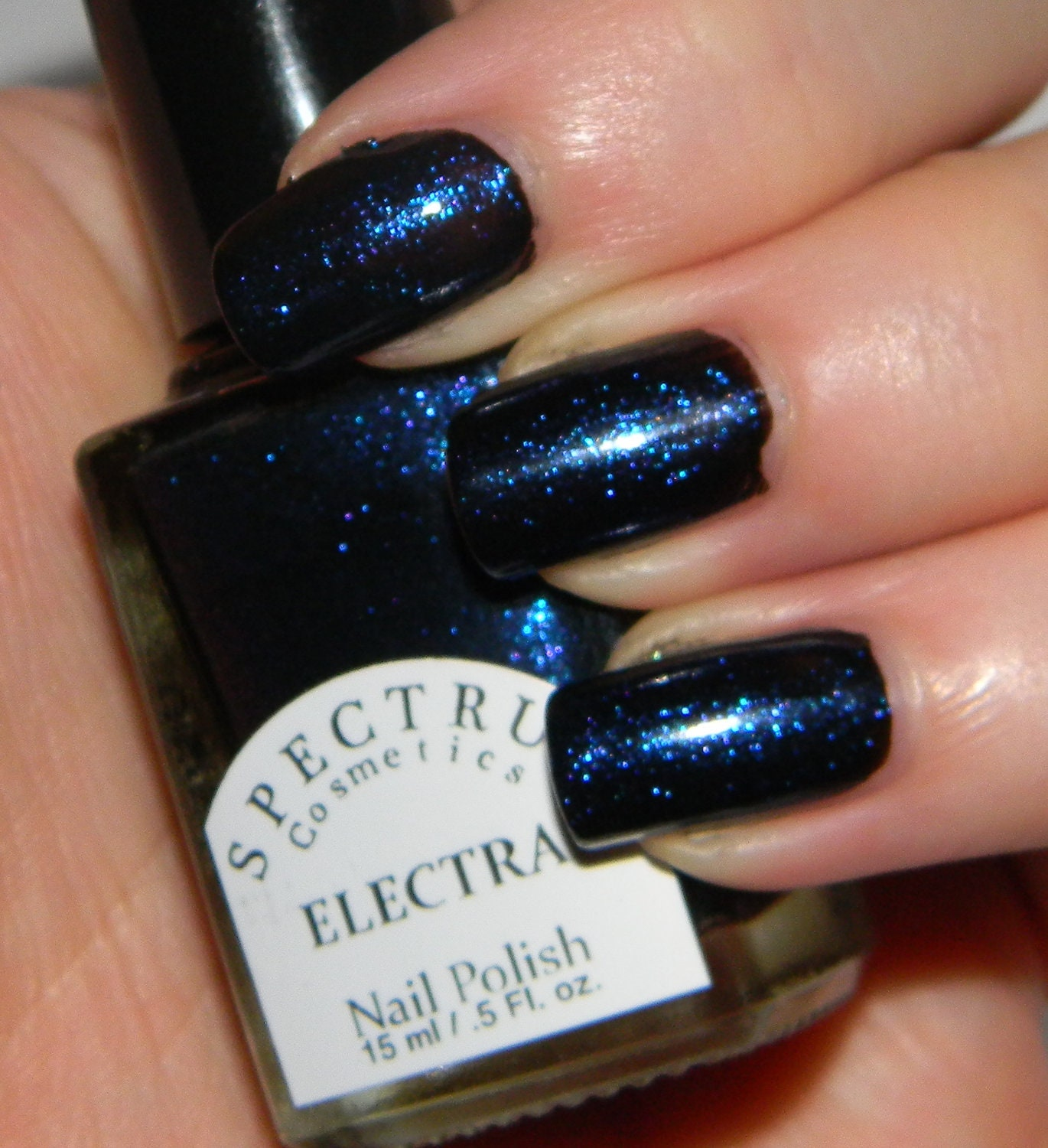 Black Nail Polish with Blue Sparkle ELECTRA