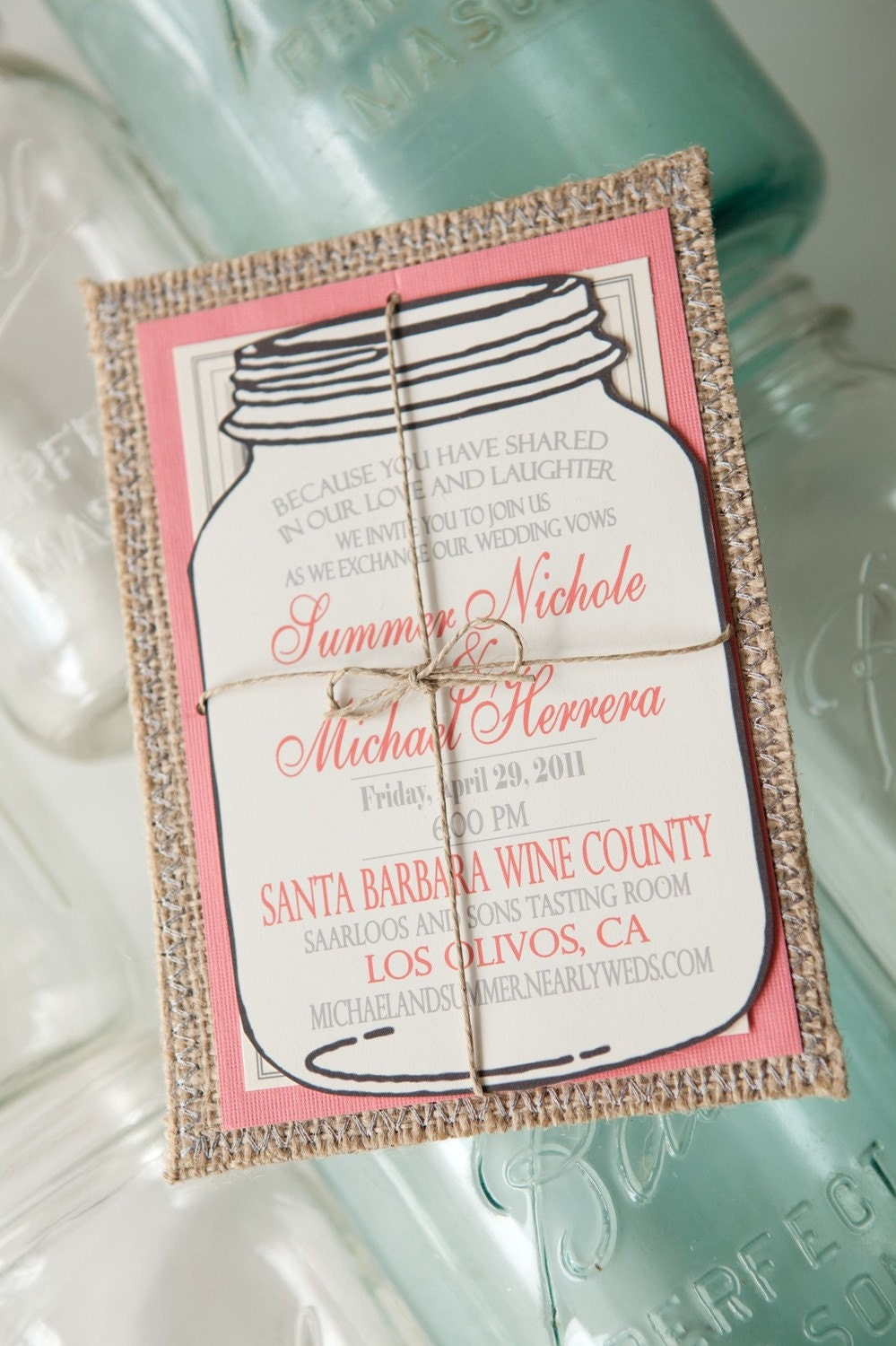 Burlap Invitations (rsvp card included)