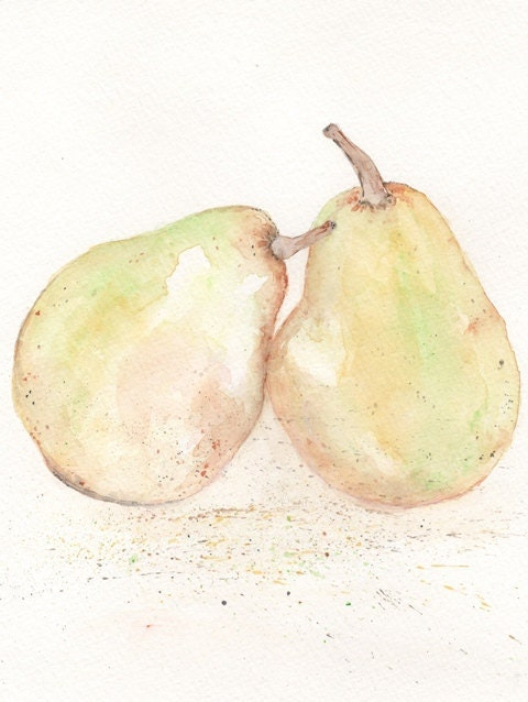 Perfect Pair/Pear Watercolor Print/yellow