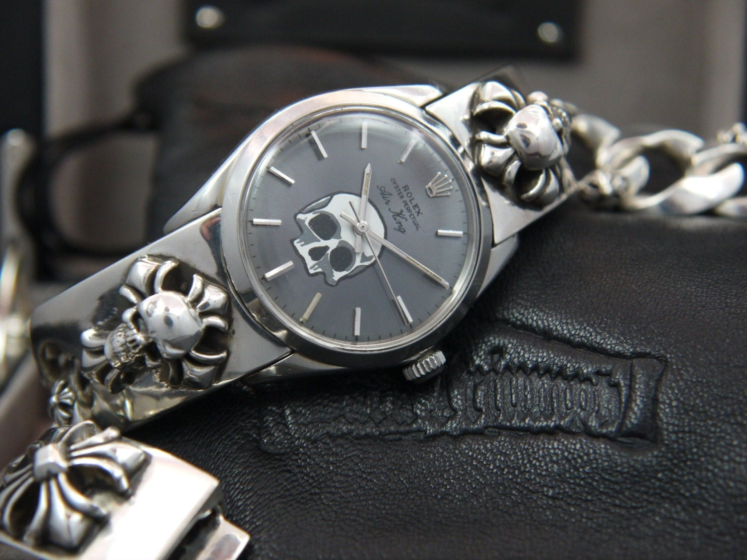 The Dorian Gray - Vintage ROLEX Watch exquisitely united with Custom Golgotha Skull CROSS Sterling Silver 0.925 Bracelet by Dark Triumph - DarkTriumph