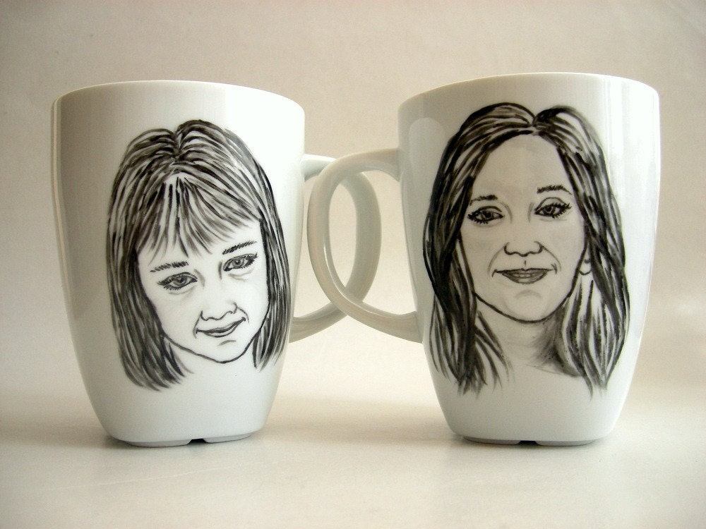 Hand painted Custom Portrait Mug Set -Black and White, Holidays Valentines Gift Under 100 Personalized gift idea
