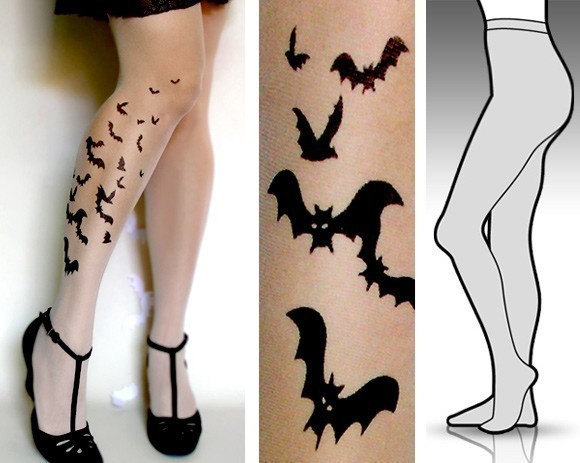 SMALL/MEDIUM sexy BATS tattoo tights / stockings/ full length / pantyhose / nylons ULTRA PALE