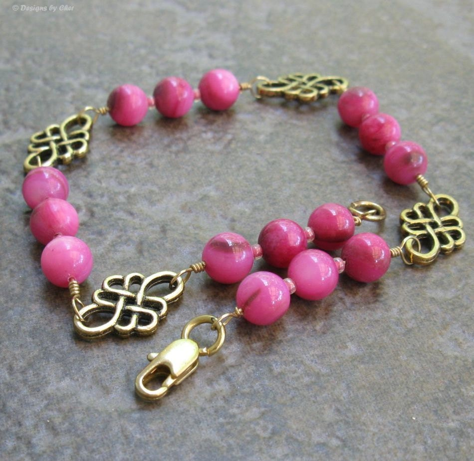 Hot Pink Fuchsia Celtic Scrollwork Antique Gold Anklet, MOP - Mother of Pearl & Glass