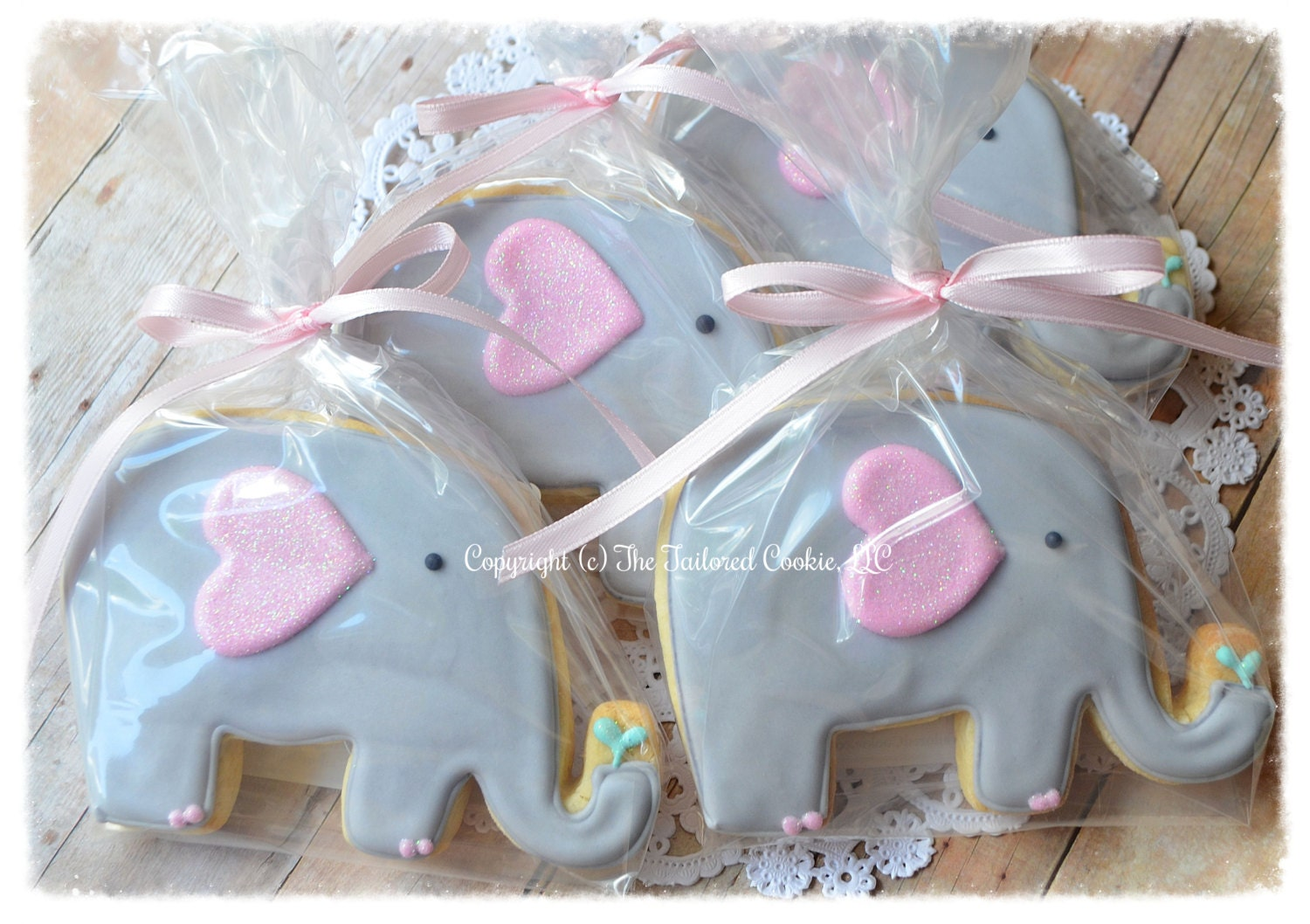 elephant baby shower shortbread sugar cookie by thetailoredcookie