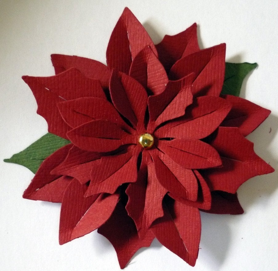Die Cut Christmas Poinsettia Paper Flowers by LocalHoneyCrafts