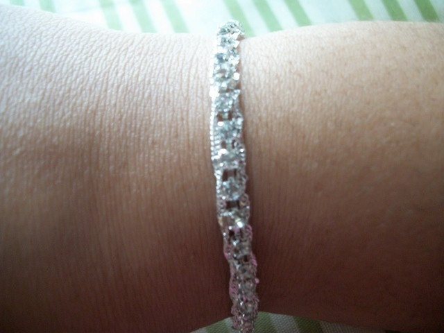 Silver Rhinestone and Chain Ribbon Bracelet