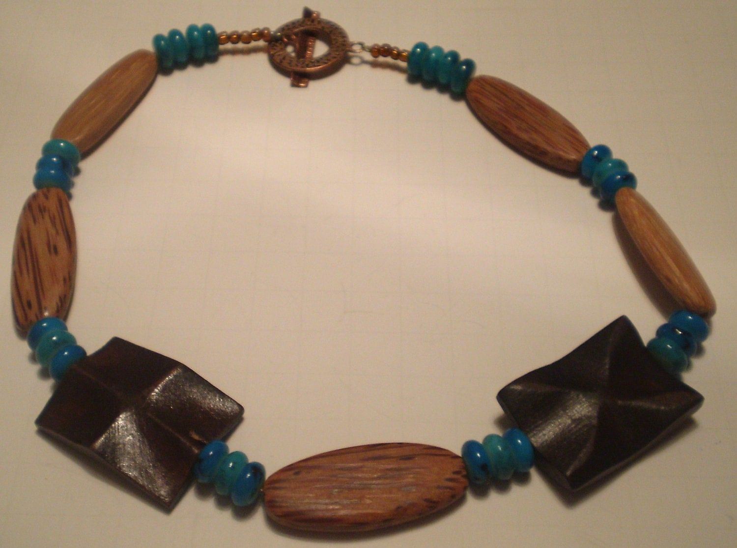 Necklace and Earring Set Southwestern Medium Brown Wood and Turquoise Glass