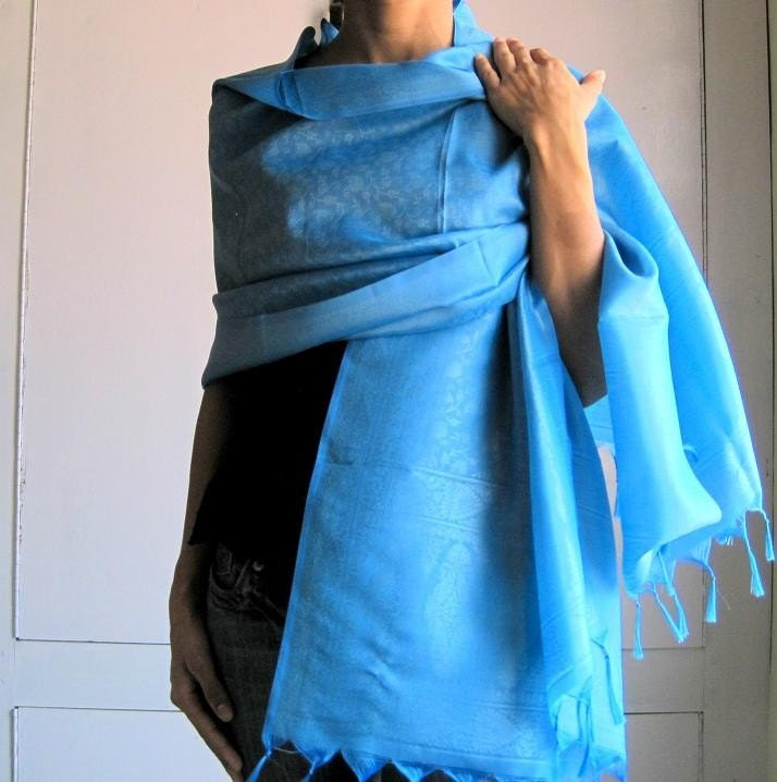 Blue Woven Silk  Sheer Fabric Shawl/ Scarf  with hand knotted fringes