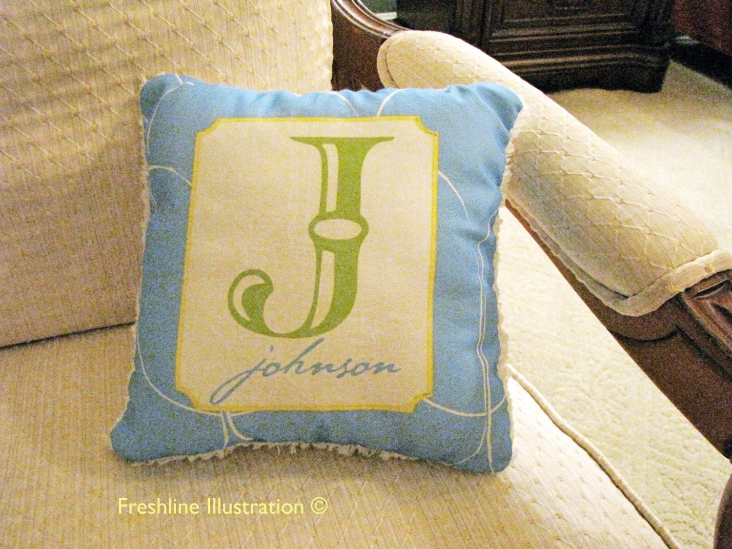 Custom Monogram/Initial with Last Name on Blue Patterned Background Decorative Pillow