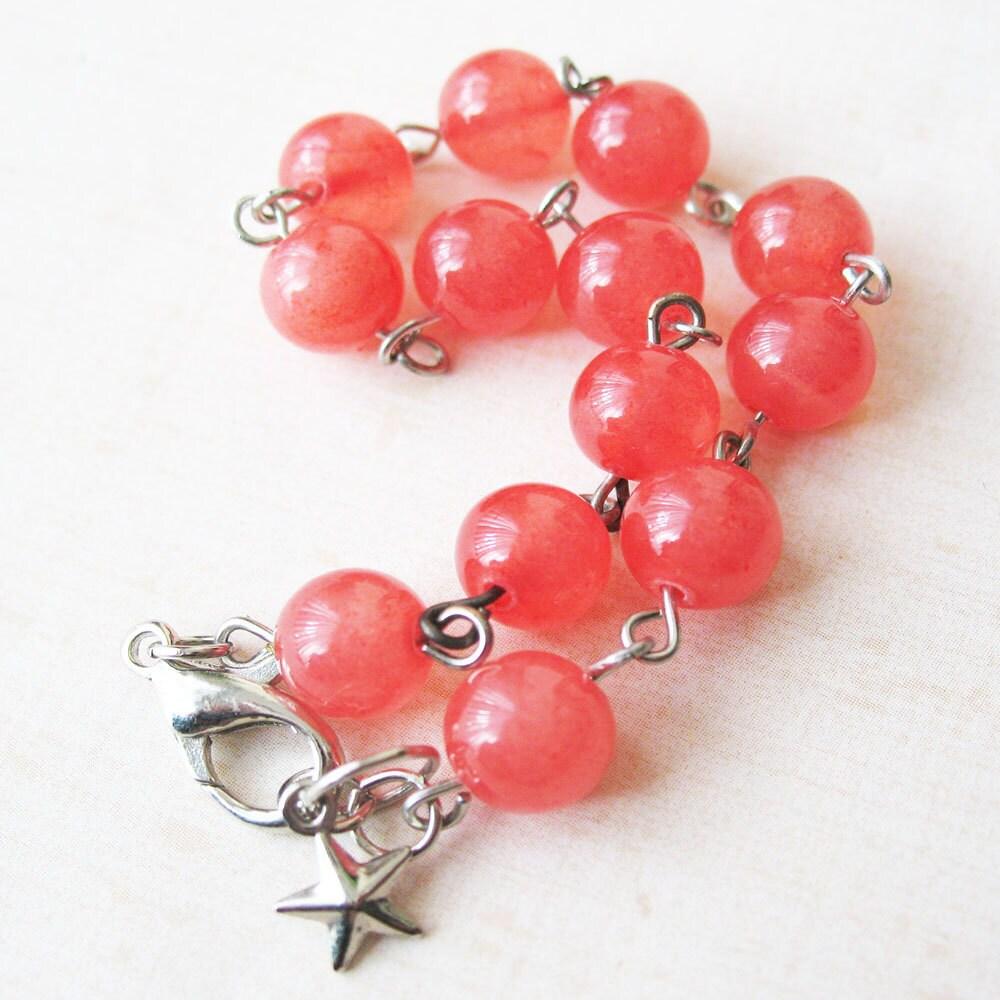 Candy Jade Bead Bracelet - Grapefruit - pulpsushi