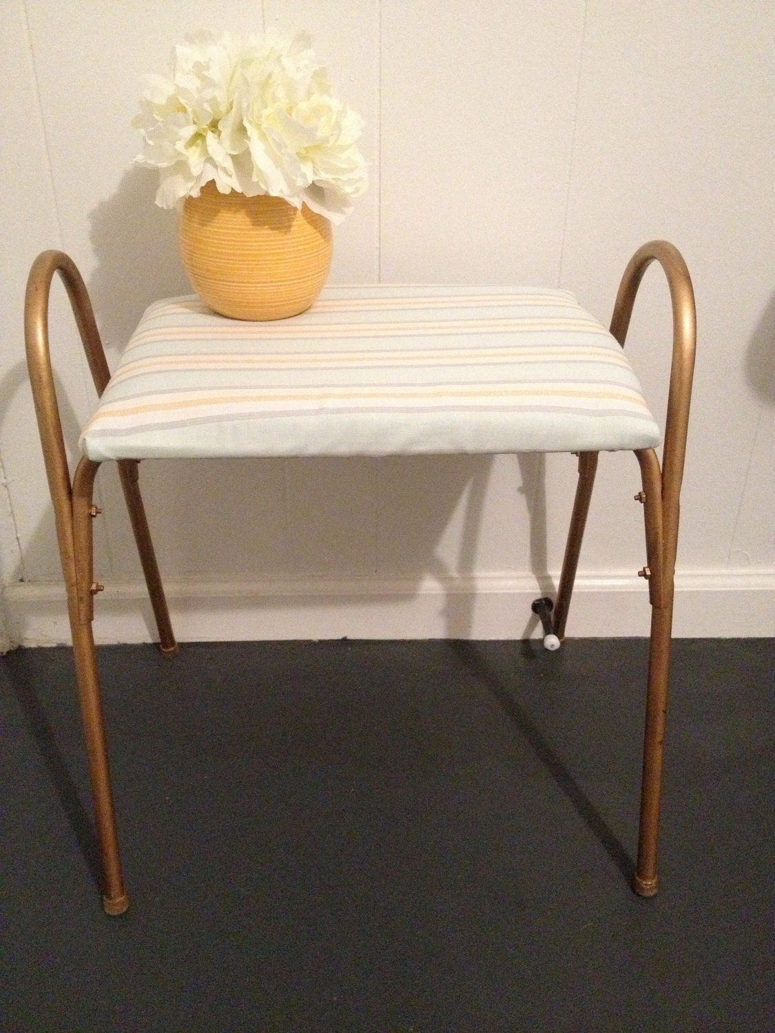 Upcycled Vintage Gold Metal Sitting Bench - Mint, Yellow, Gray Stripes
