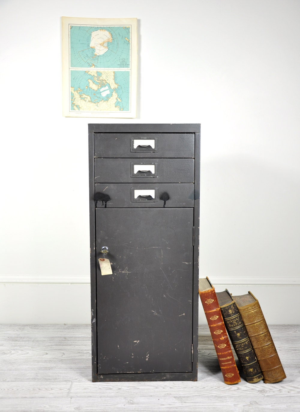 Perfect Office Metal Black Cabinet Industrial Vintage Style Storage Unit With 27 Compartments Featuring Copper Plated Label Holders Against Black Metal, &163989