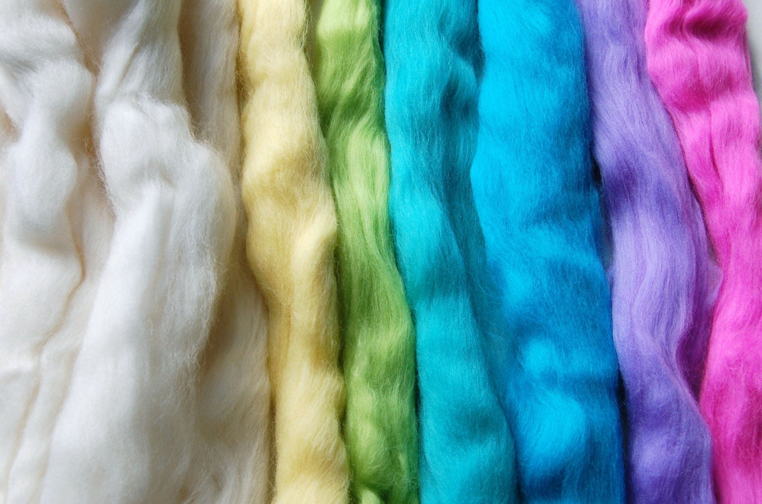 Spring Rainbow - Feltmaking Mix - A beautiful assortment of merino tops/roving for felting/spinning/craft kit.