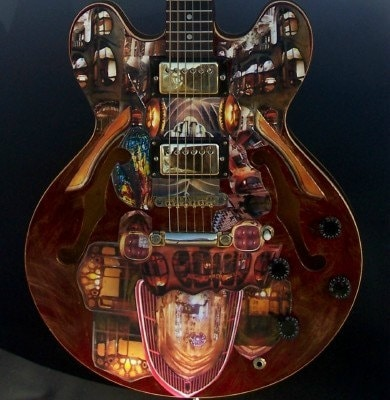 Cathedral of Sound, playable Hondo brand 335 style art guitar with collage and painting