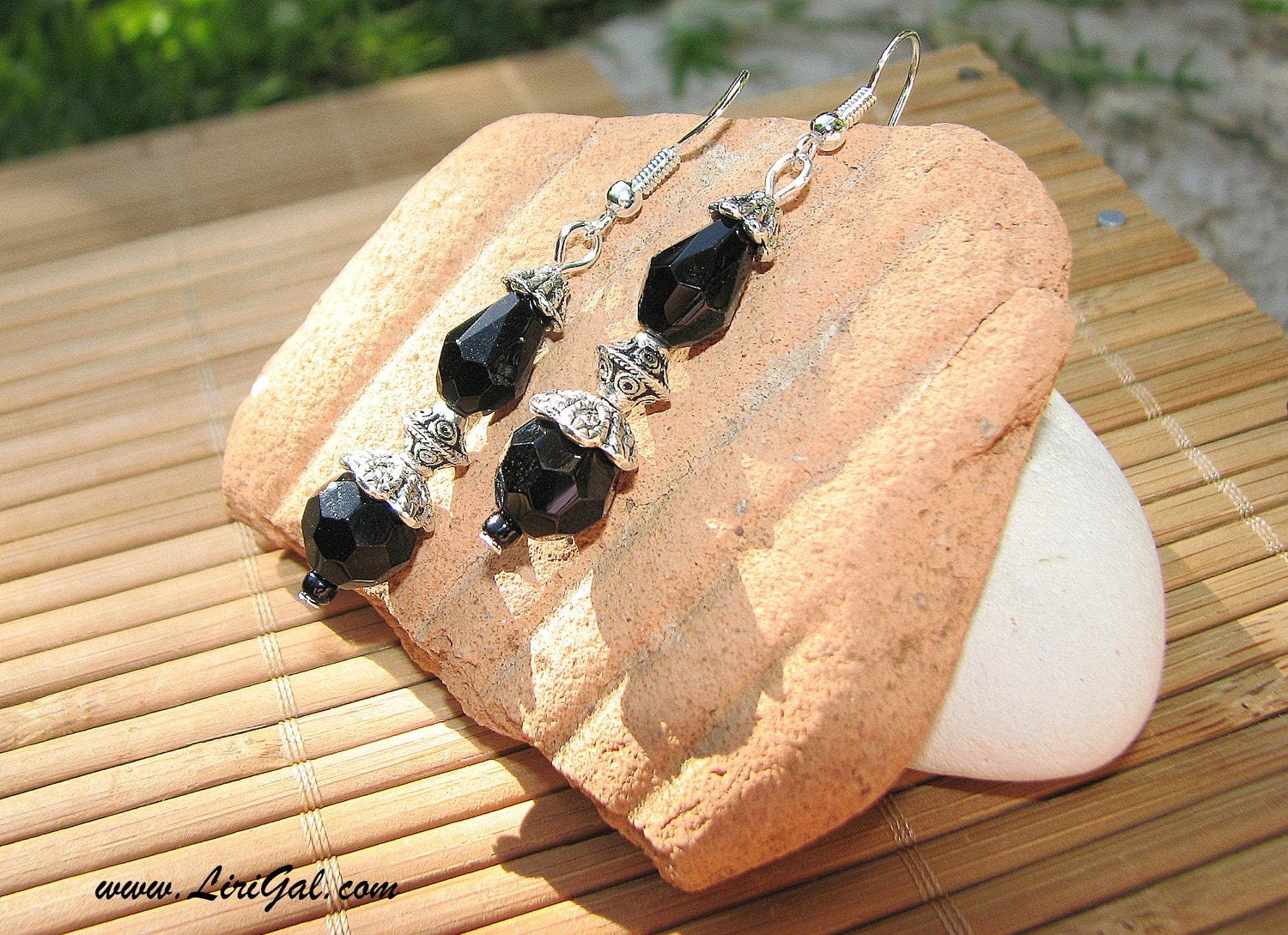 Black and Silver Long  Earrings with Sterling Silver earring wires