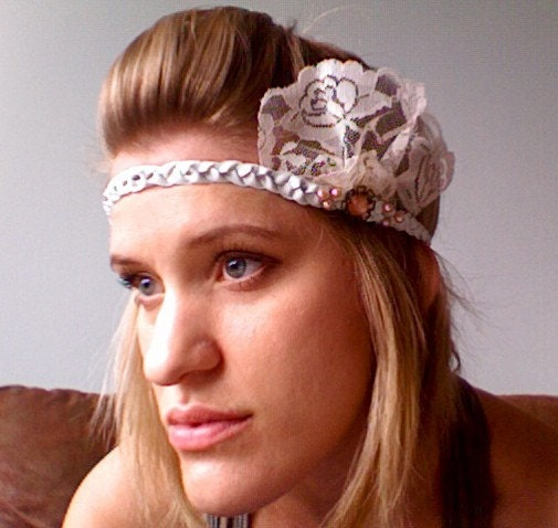 Vintage Cabochon and Lace White Leather Headband