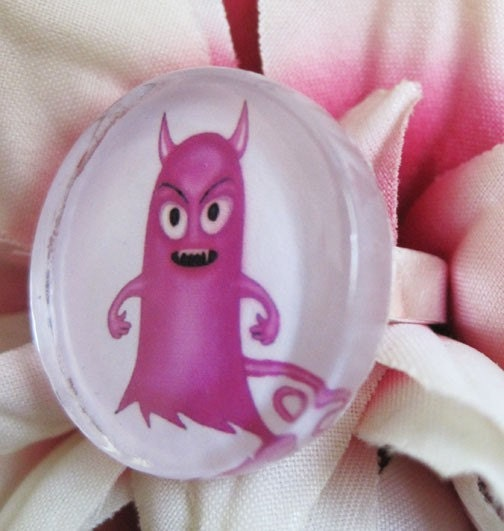 Little Hottie Pink and Cute Monster Glass Ring