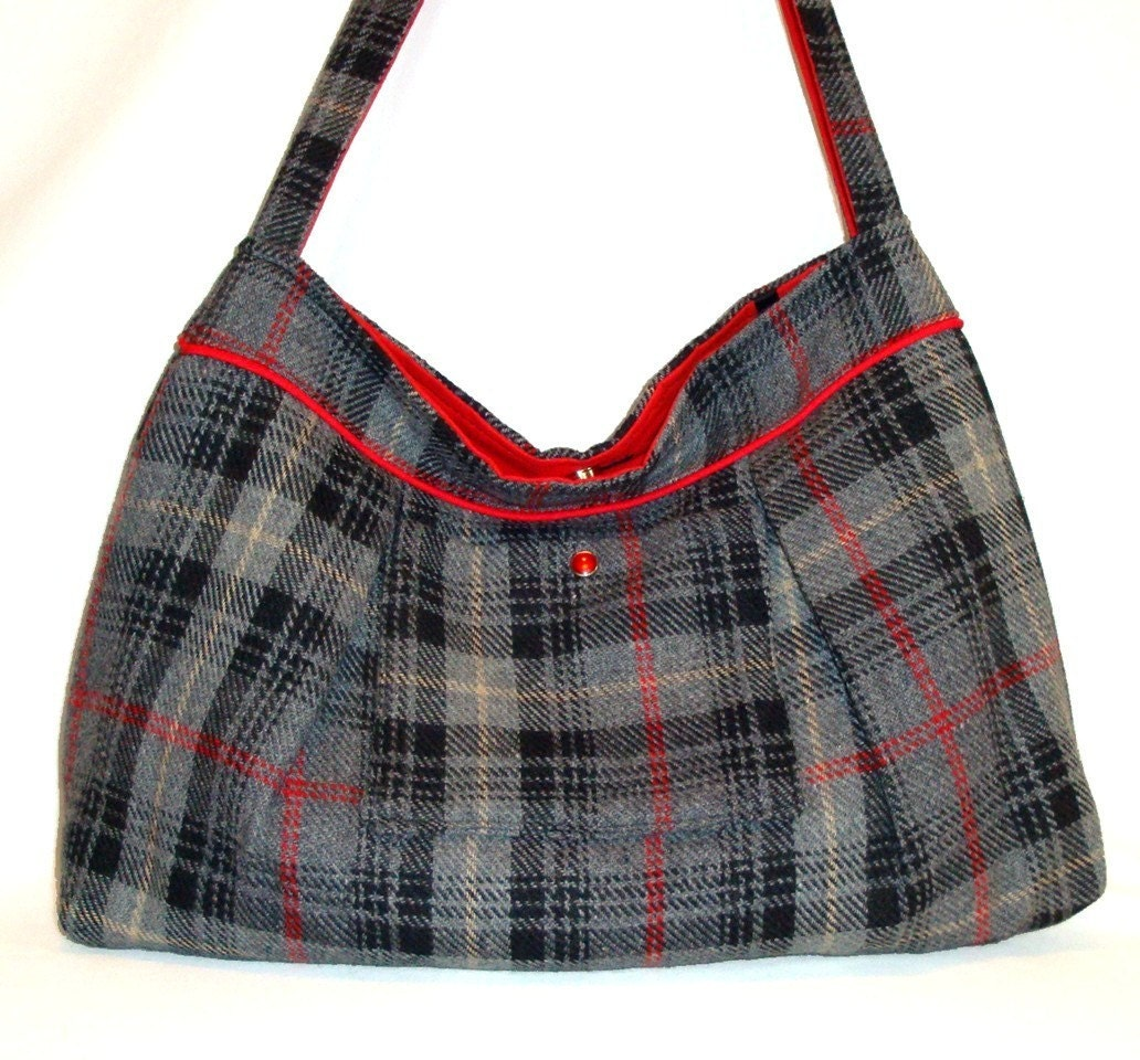 Gray and Red Plaid Wool Large Pleated Shoulder Bag with Magnetic Snap