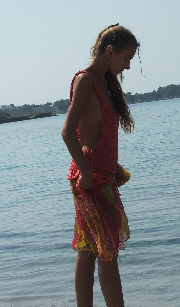 Coral red cotton tank, beach cover up