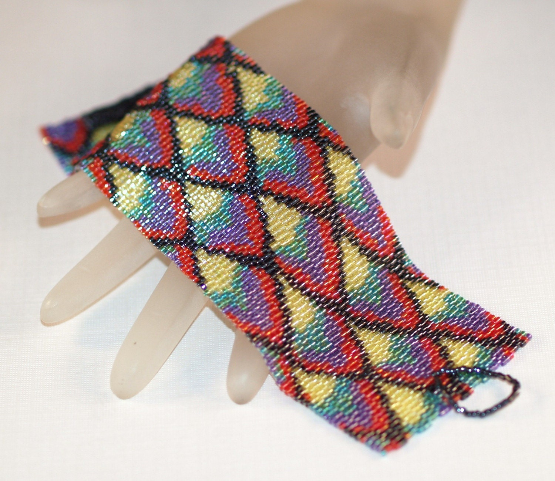 Dragon Scales - Shimmery Wide Peyote Bracelet / Cuff (3196)