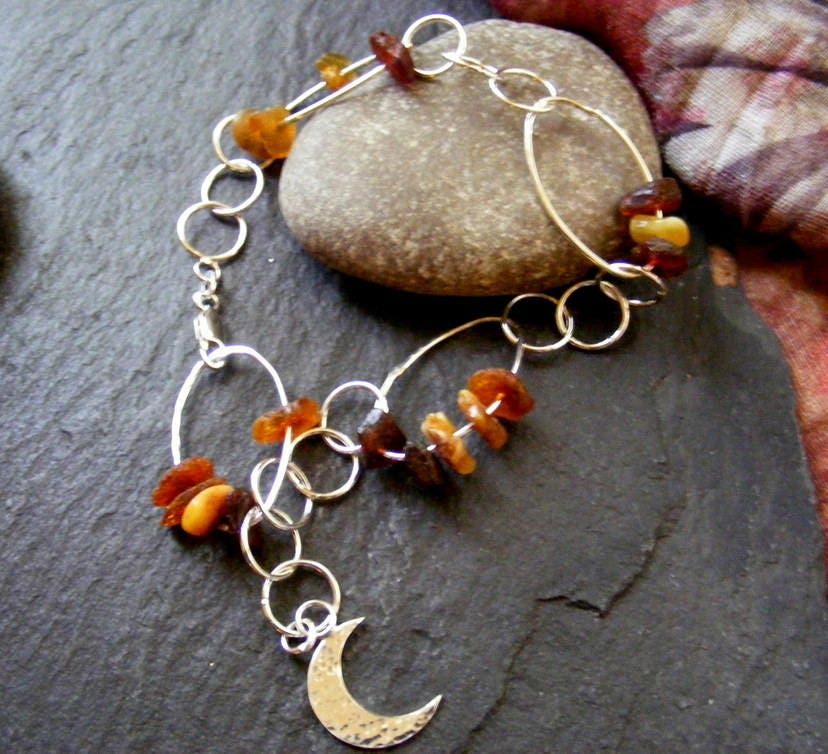 Silver bracelet with raw amber and crescent moon  sterling silver link bracelet with baltic amber