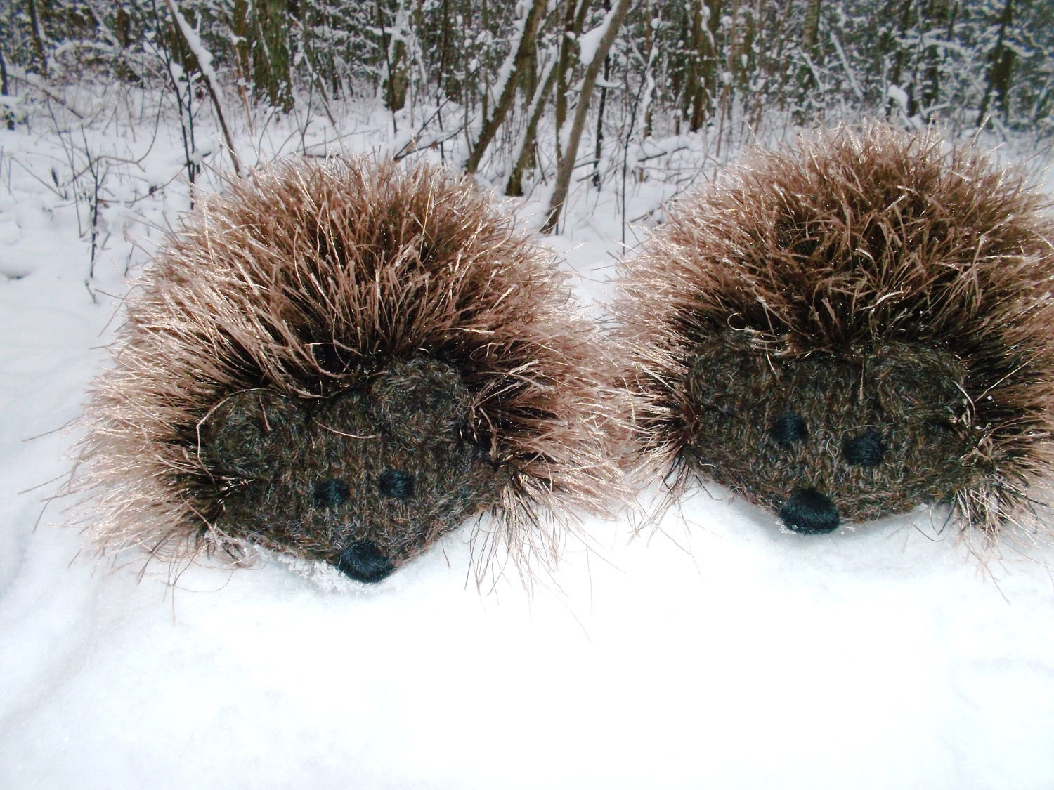 Made to Order Hand Knit Brown Hedgehog Mittens Gloves Children Warm