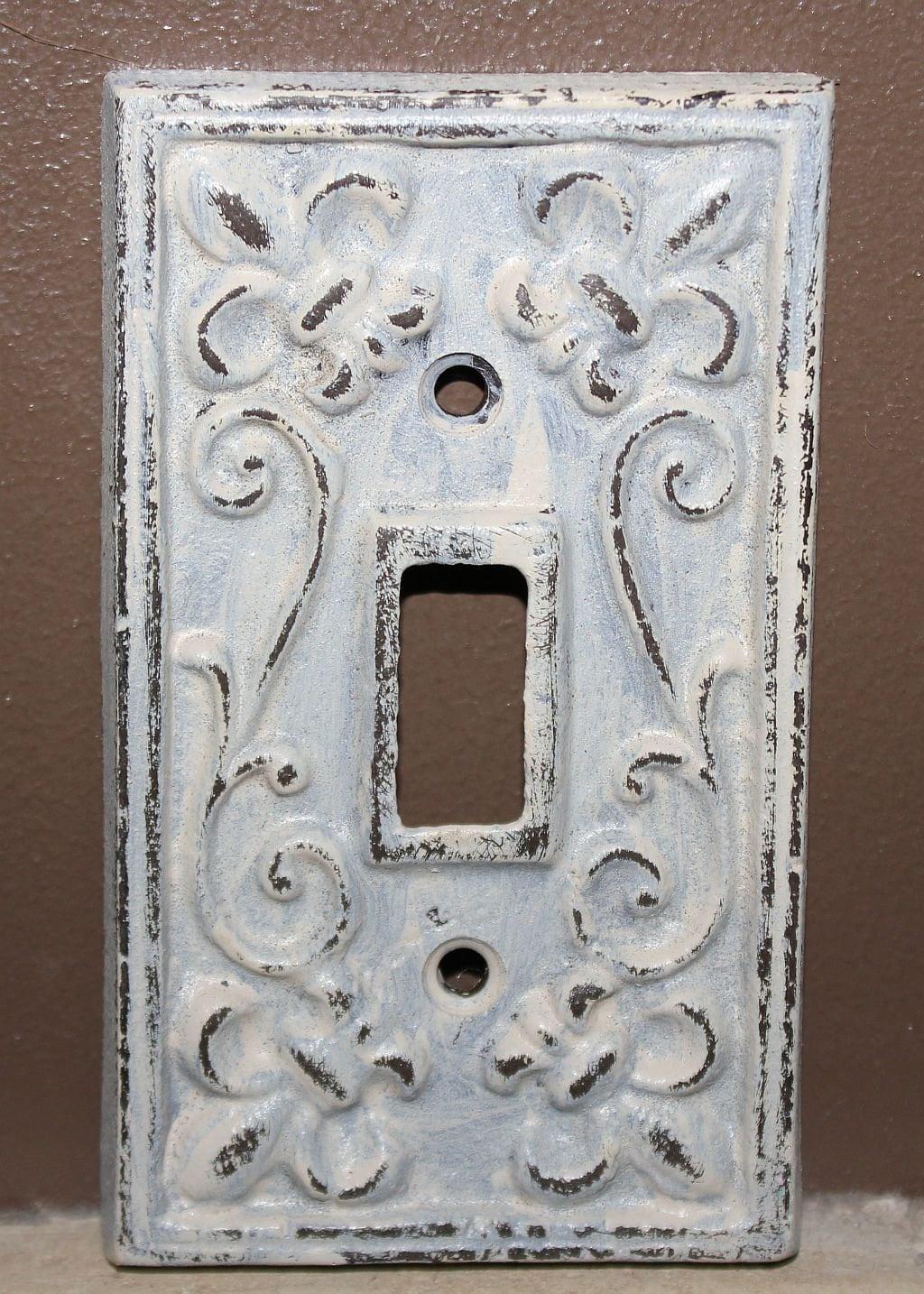 Antique White Switch Plate Cover Cast Iron Fleur De By