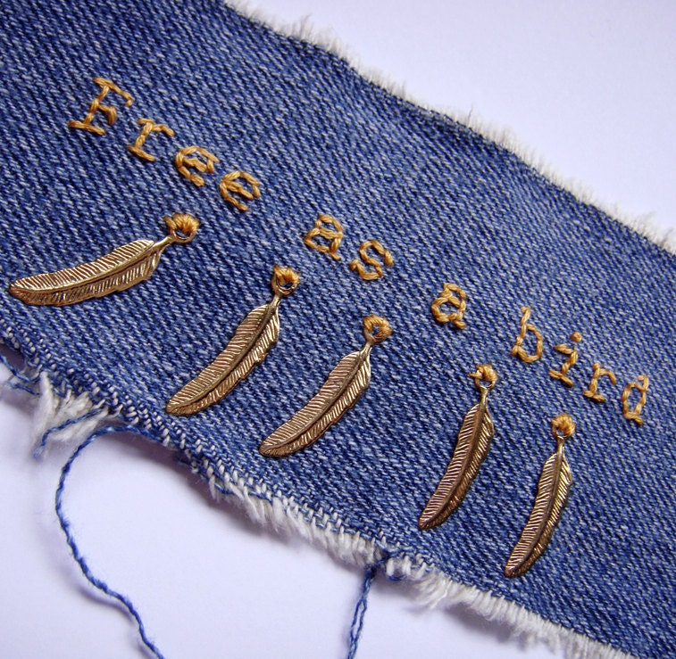Upcycled denim cuff - Free as a Bird