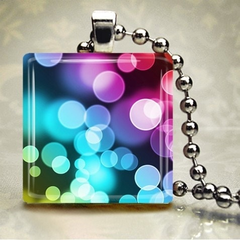 Rainbow Bubbles - Glass Tile Pendant (TRSB9)
