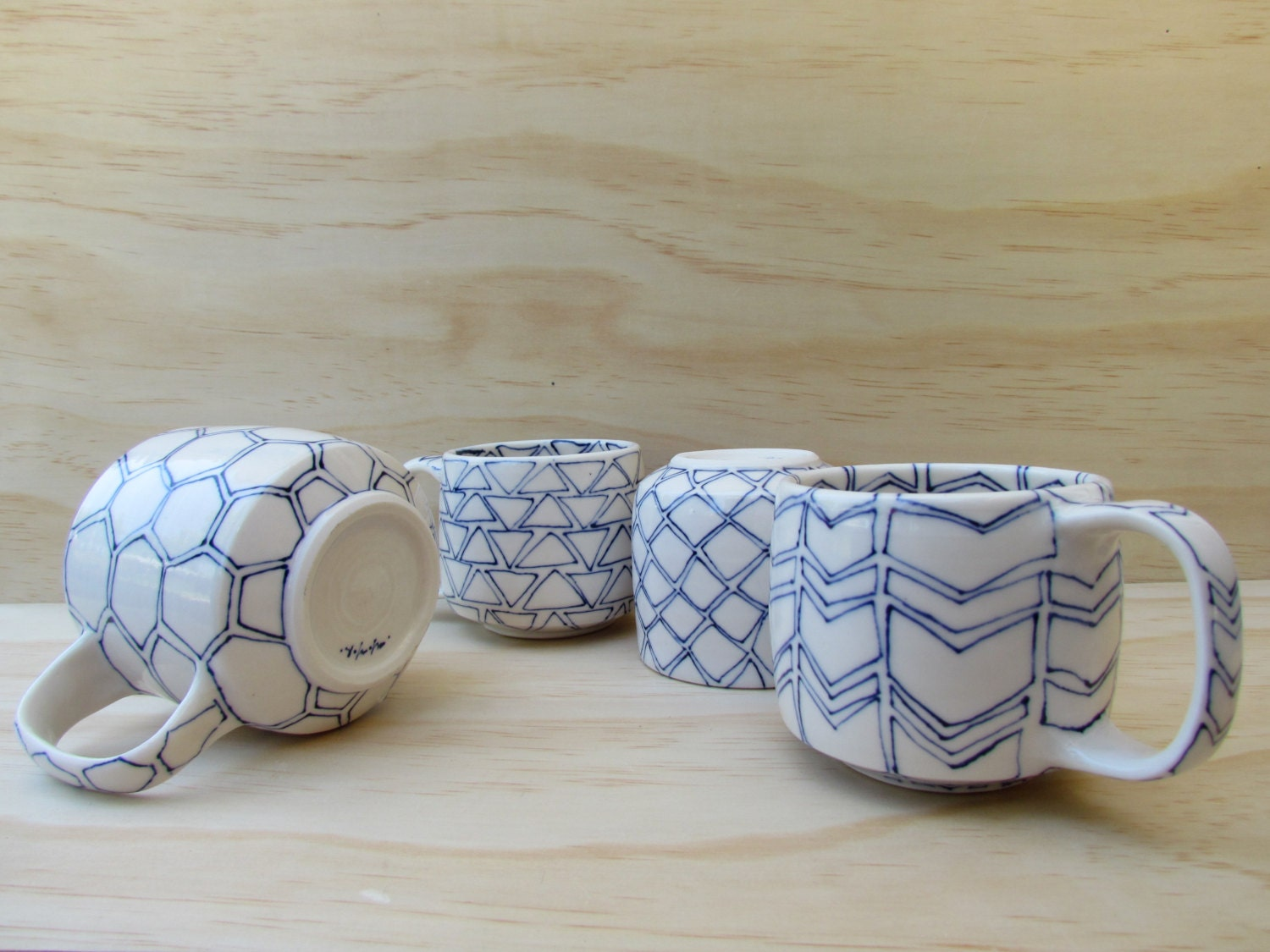 Set of Four Tea or Coffee Mugs. Shapes in blue and white or black and white. Geometric design. Modern porcelain mugs. MADE TO ORDER.